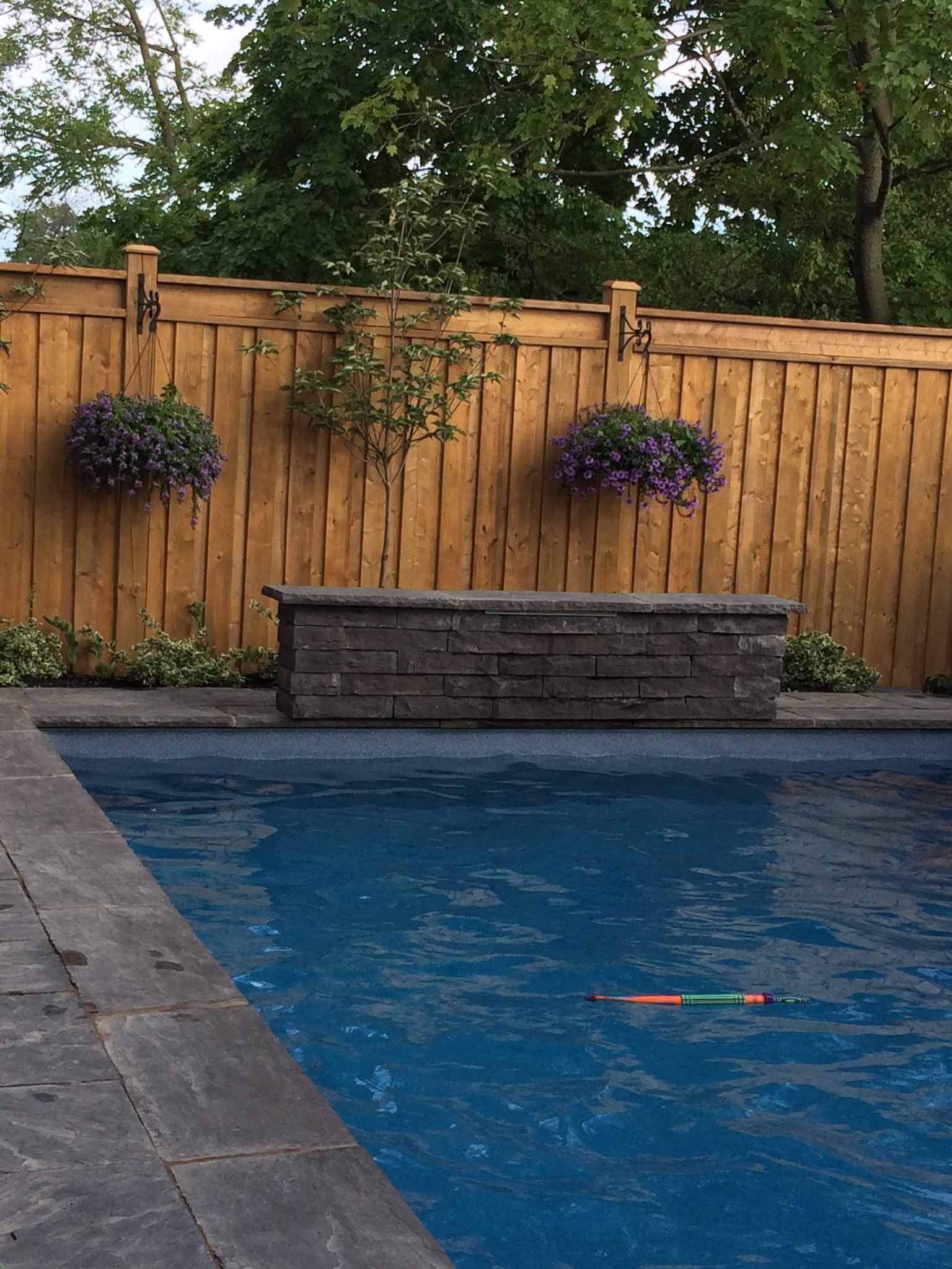 Wood fence around pool